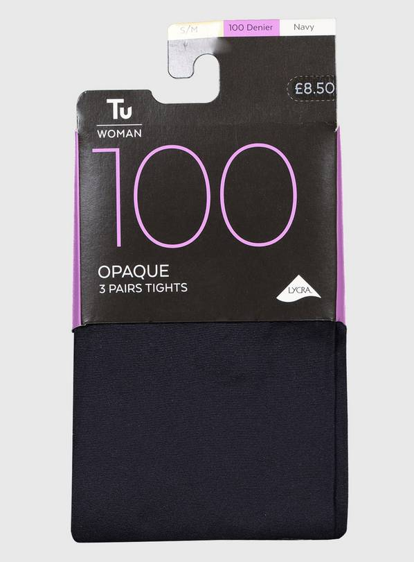 Navy 100 Denier Opaque Tights 3 Pack - S/M