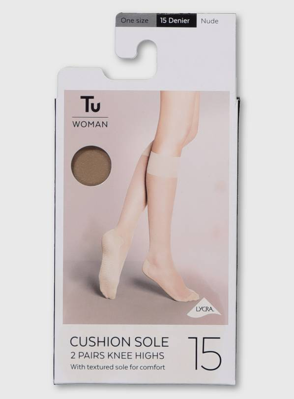 Latte Nude Cushion Sole 15 Denier Knee Highs 2 Pack - One Si