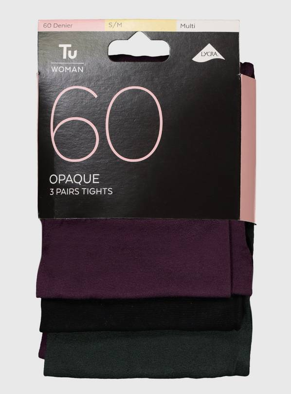 Multicoloured 60 Denier Opaque Tights 3 Pack - S/M