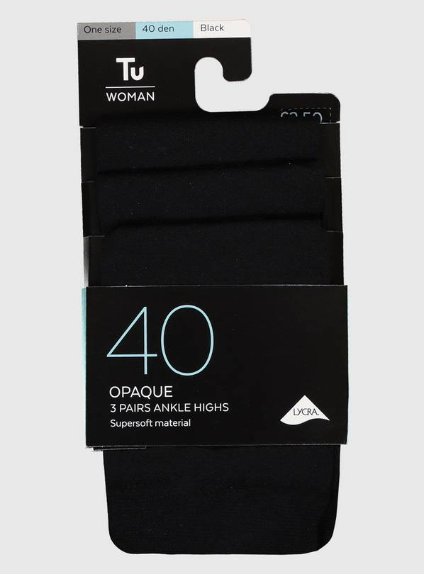 Black Opaque Ankle Highs 3 Pack - One Size