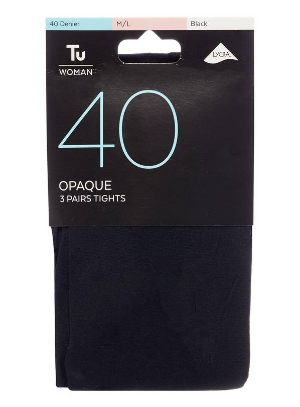 Black 40 Denier Opaque Tights 3 Pack - S/M