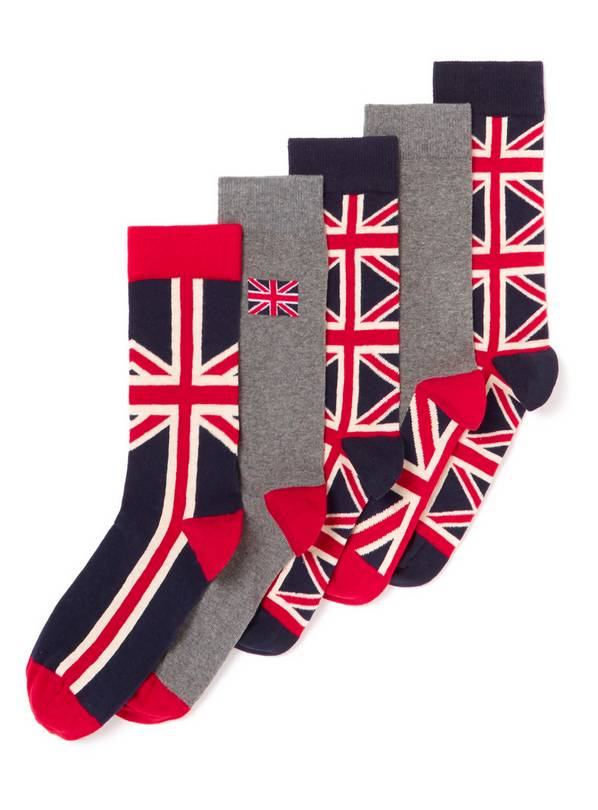 Multicoloured Union Jack Stay Fresh Socks 5 Pack - 9-12
