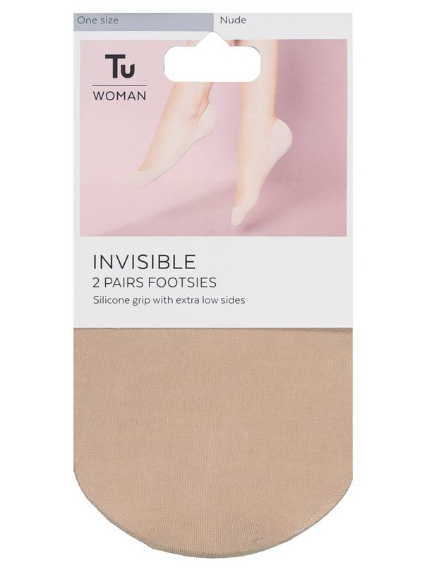 Nude Cotton Rich Invisible Footsie 2 Pack - One Size