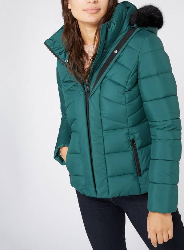 Online Exclusive Green Padded Coat - 6
