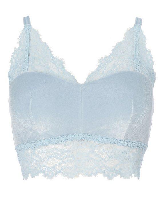 Buy Pale Blue Velvet Bralette - 32B  b355b08f7