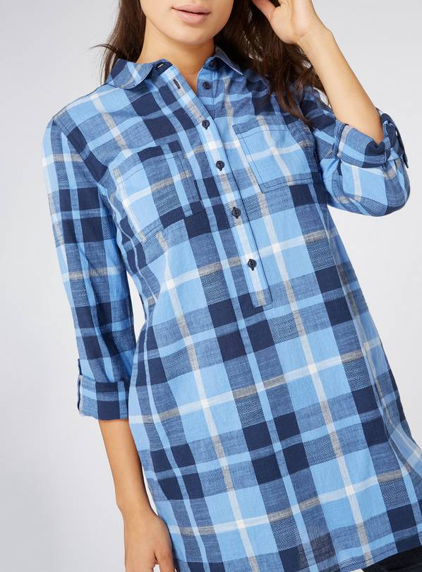Blue Check Longline Shirt - 26