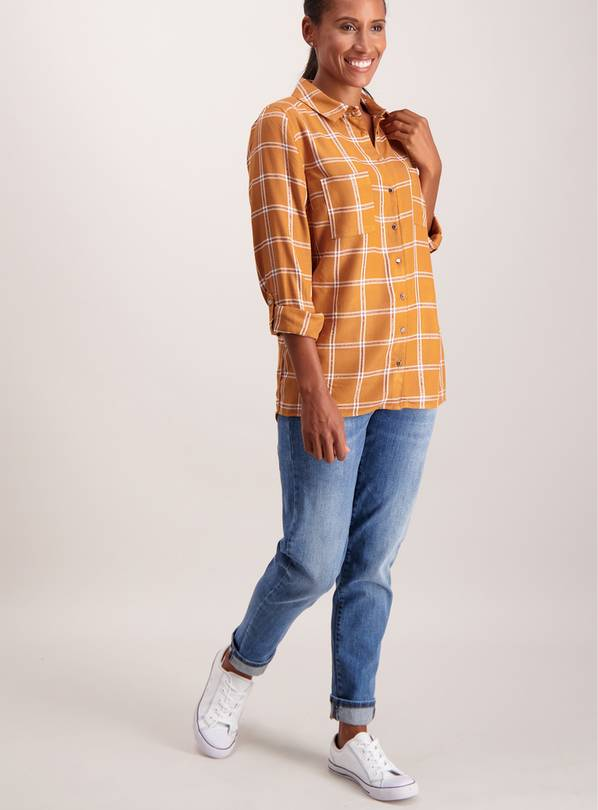 Toffee Brown Check Shirt - 28