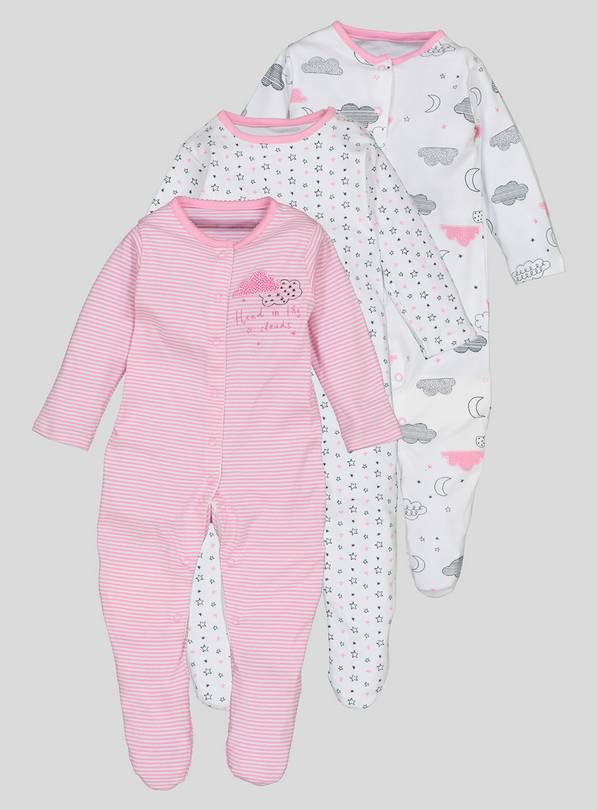 3 Pack Multicoloured Sleepsuits - 2-3 years