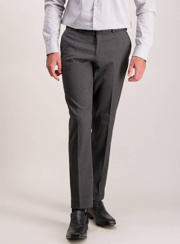 Charcoal Herringbone Slim Fit Trousers With Stretch - W42 L2