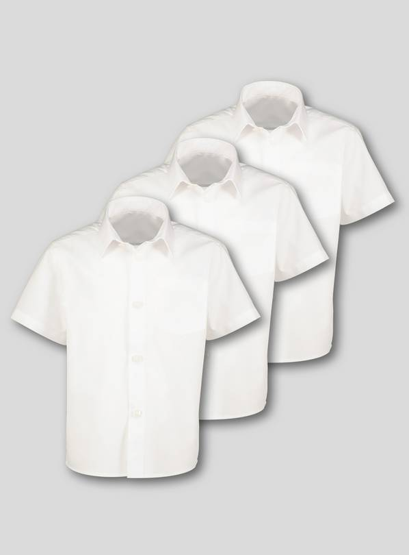 White Plus Fit School Shirts 3 Pack - 8 years