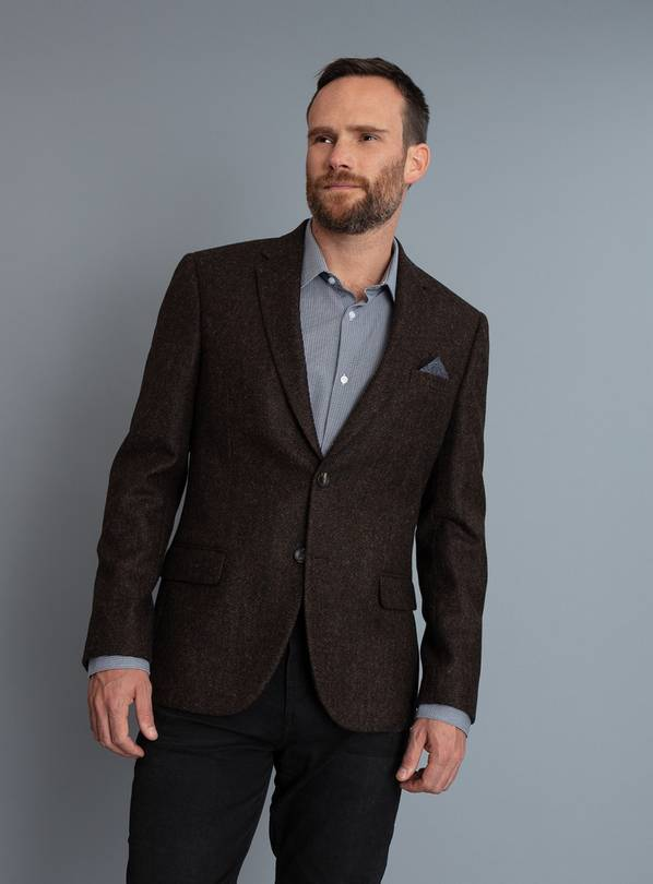 British Wool Brown Herringbone Tailored Fit Jacket - 46R