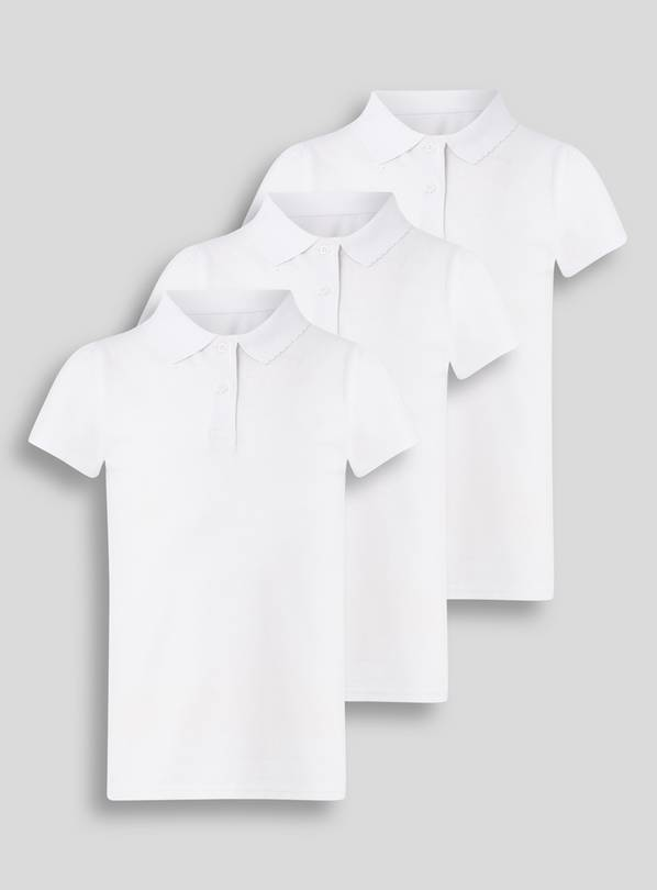 3 Pack White Stain Resistant Polo Shirts - 7 years