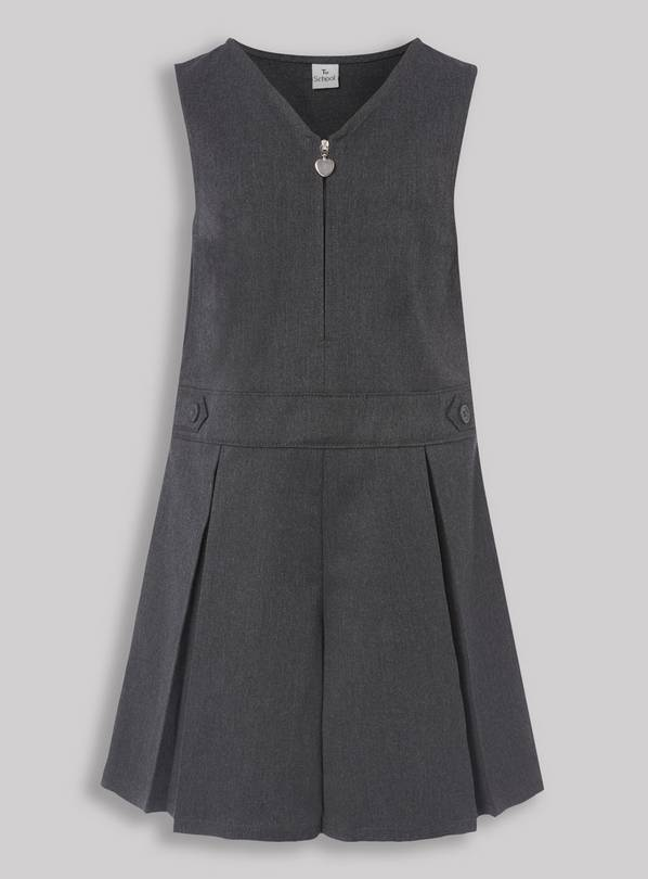 Grey Pleated Zip Front School Playsuit