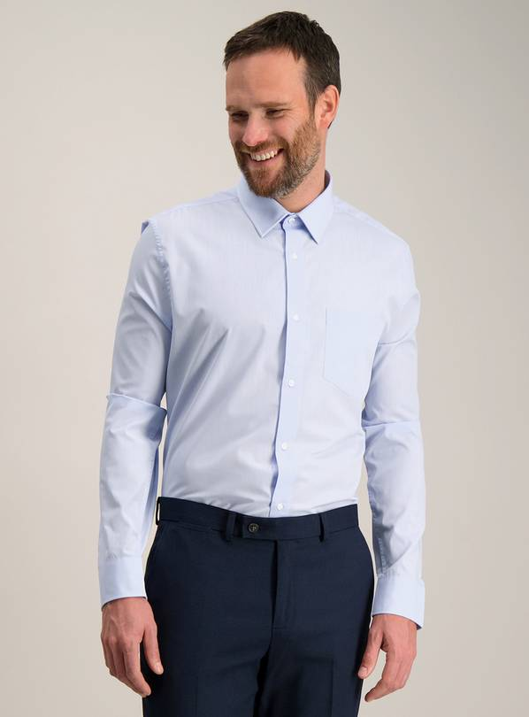 Blue Tailored Fit Easy Iron Shirts 2 Pack - 18.5