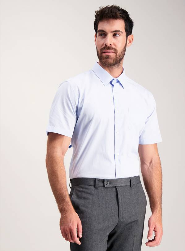 Blue Easy Iron Tailored Fit Shirts 2 Pack - 16