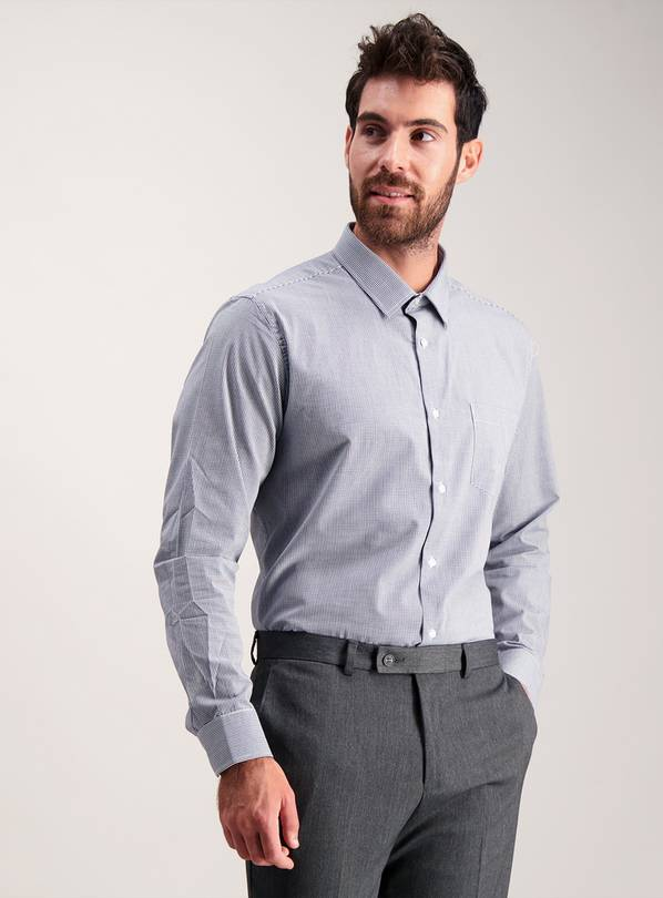 Navy Gingham Easy Iron Tailored Fit Shirts 2 Pack - 18.5