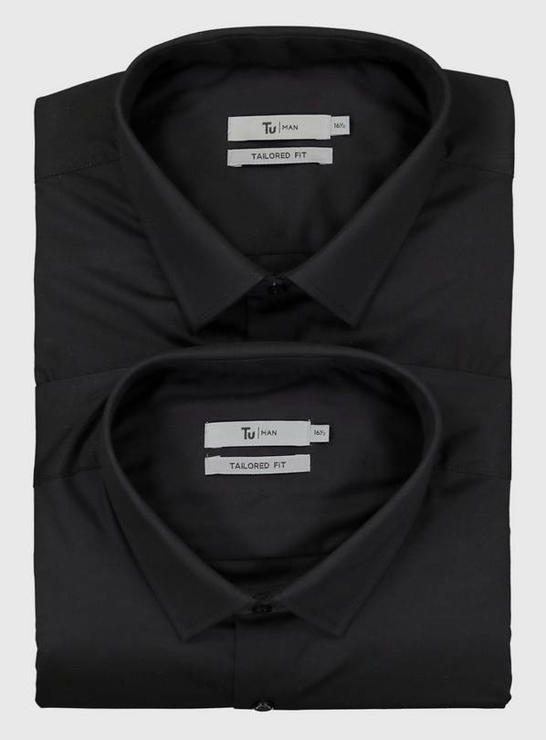 Black Tailored Fit Shirts 2 Pack - 15.5