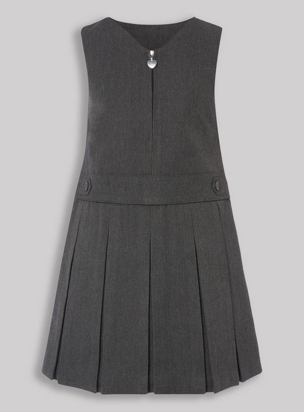 Grey Pleated Zip Front Pinafore Dress - 3 years