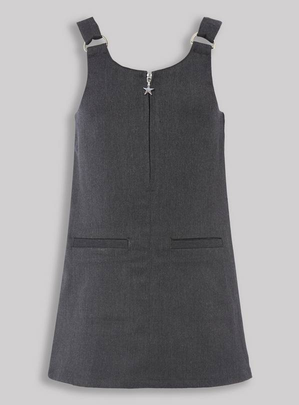 Grey Zip Front Pinafore Dress - 3 years