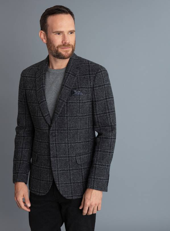 British Wool Charcoal Checked Tailored Fit Blazer - 38S