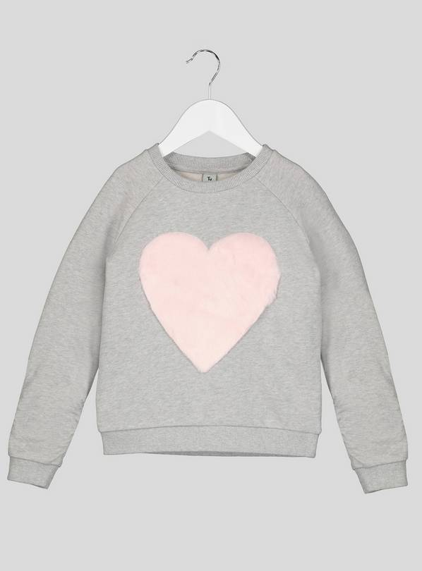 Grey Sweatshirt With Faux Heart Detail - 14 years