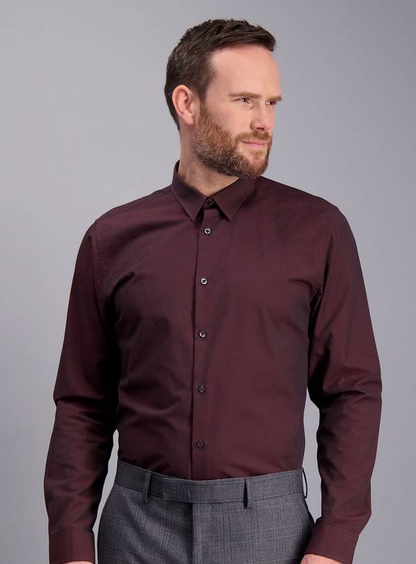Burgundy Slim Fit Textured Shirt - XL