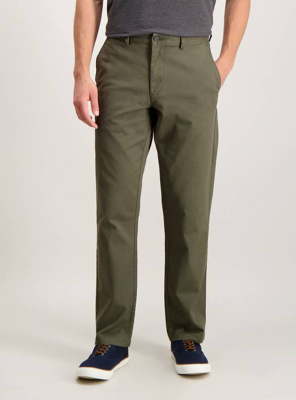 Khaki Straight Leg Chinos With Stretch - W34 L30