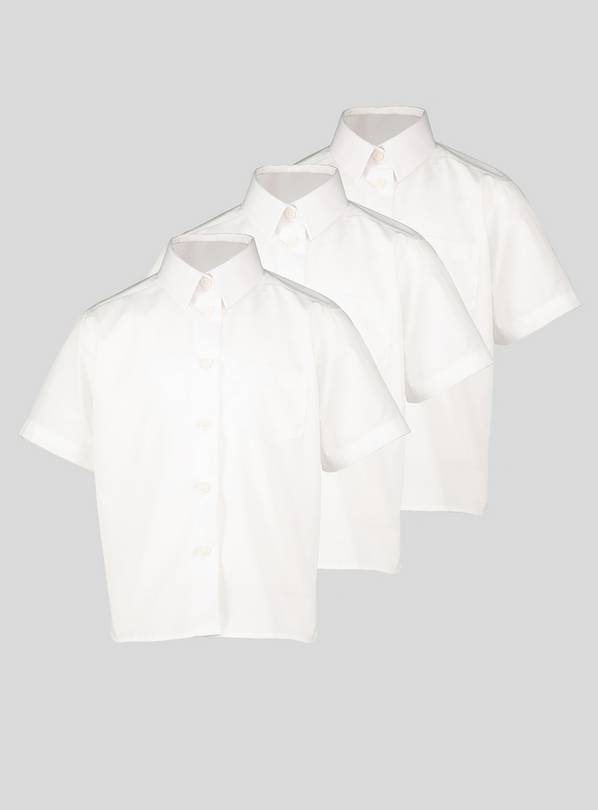 White Plus Fit Non Iron Shirts 3 Pack - 12 years