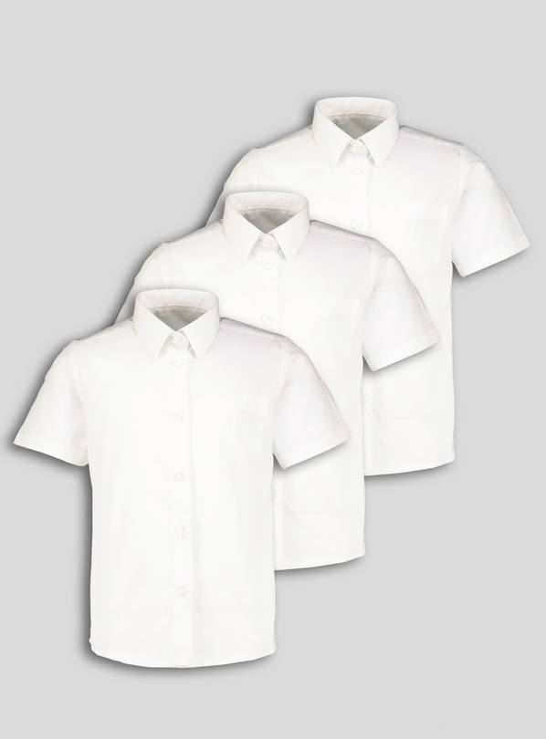 White Slim Fit School Shirts 3 Pack - 10 years