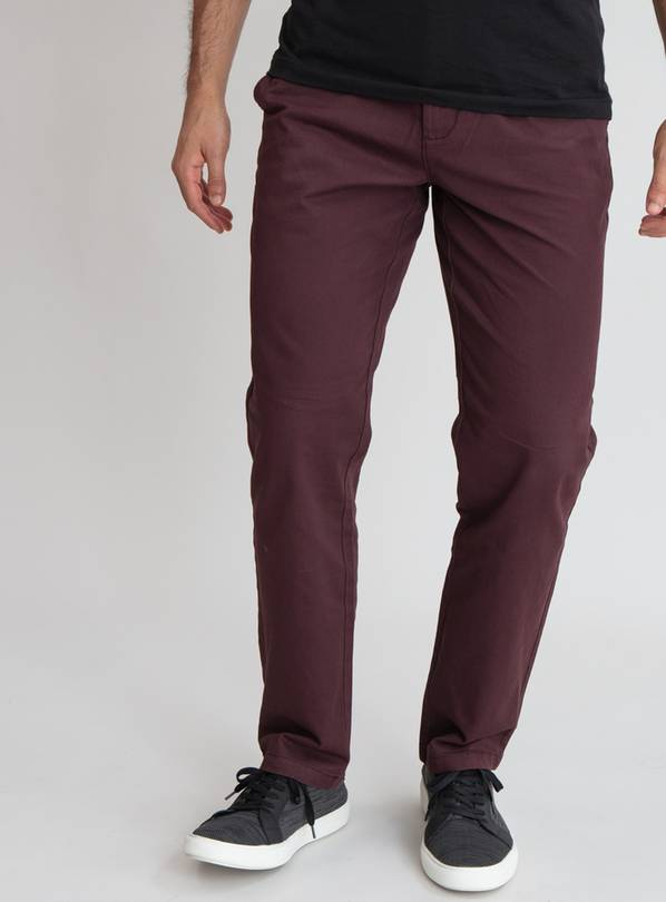 Burgundy Straight Leg Chinos With Stretch - W34 L30