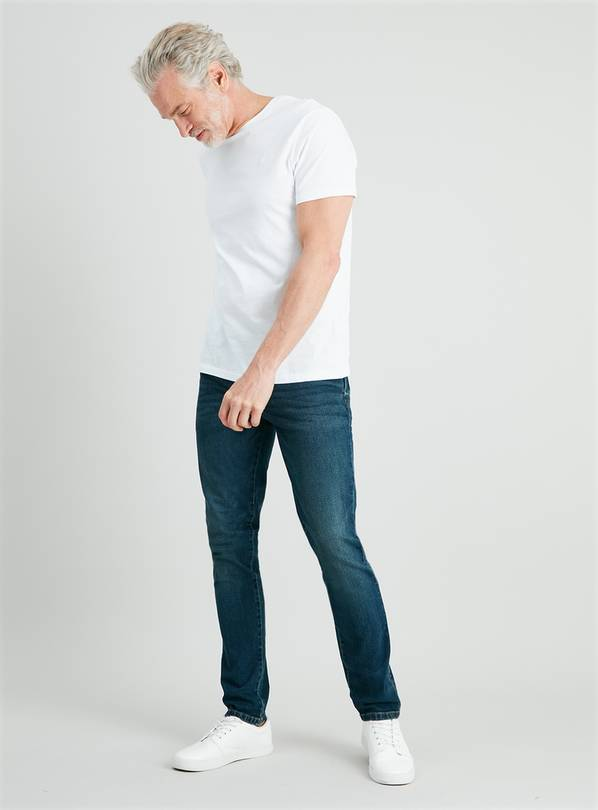 Blue Mid Wash Denim Skinny Fit Jeans With Stretch - W40 L30
