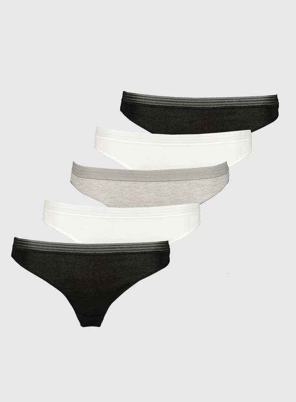 Grey, White & Black High Leg Knickers 5 Pack - 16