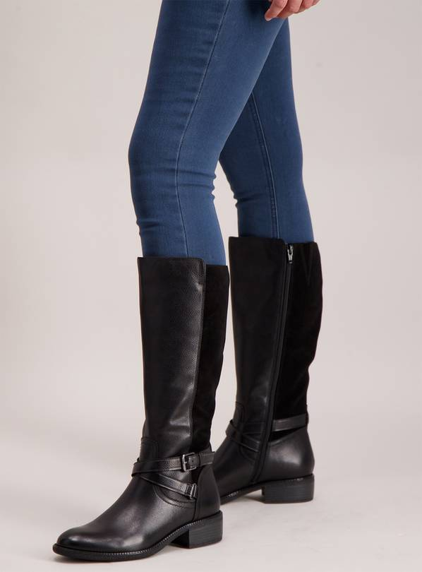 658eebe599f Buy Sole Comfort Black Leather   Suede Riding Boots Wide Calf ...