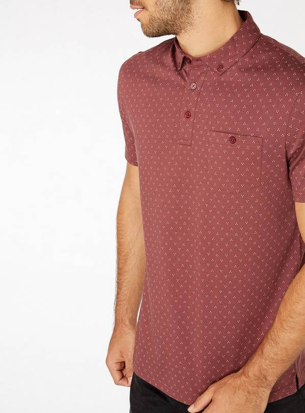 Burgundy Geometric Print Polo Shirt - M