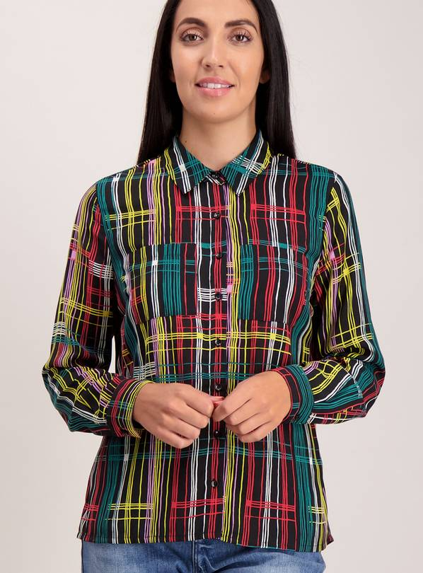 Multicoloured Geometric Print Long Sleeve Shirt - 28