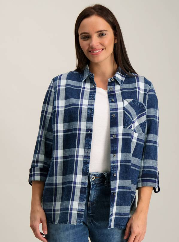 Navy Checked Western Shirt - 28