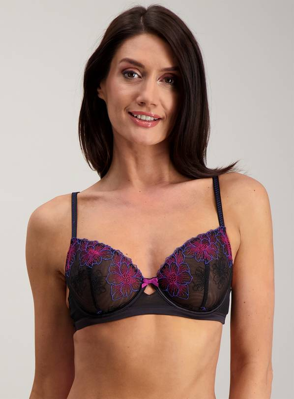 Black Embroidered Full Cup Bra - 34C