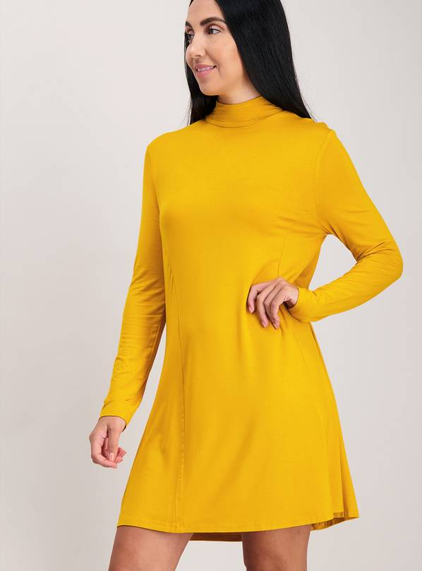 Yellow Jersey Swing Dress - 22