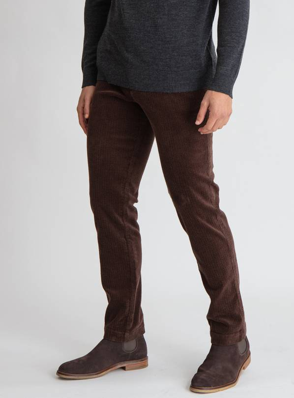 Brown Slim Fit Corduroy Chino - W42 L32