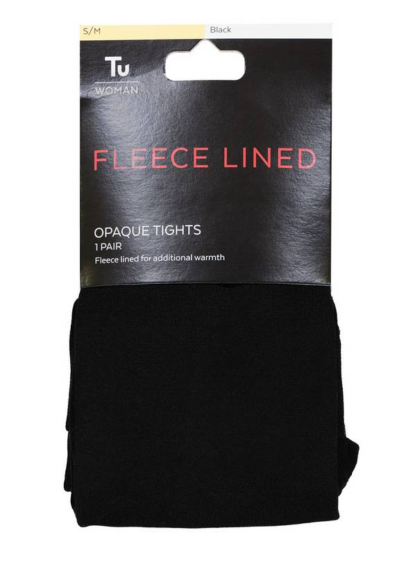 Black Fleece Lined Opaque Tights - L/XL