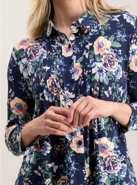 8047ca1ff47 Buy Navy Floral Pintuck Pleat Blouse - 12