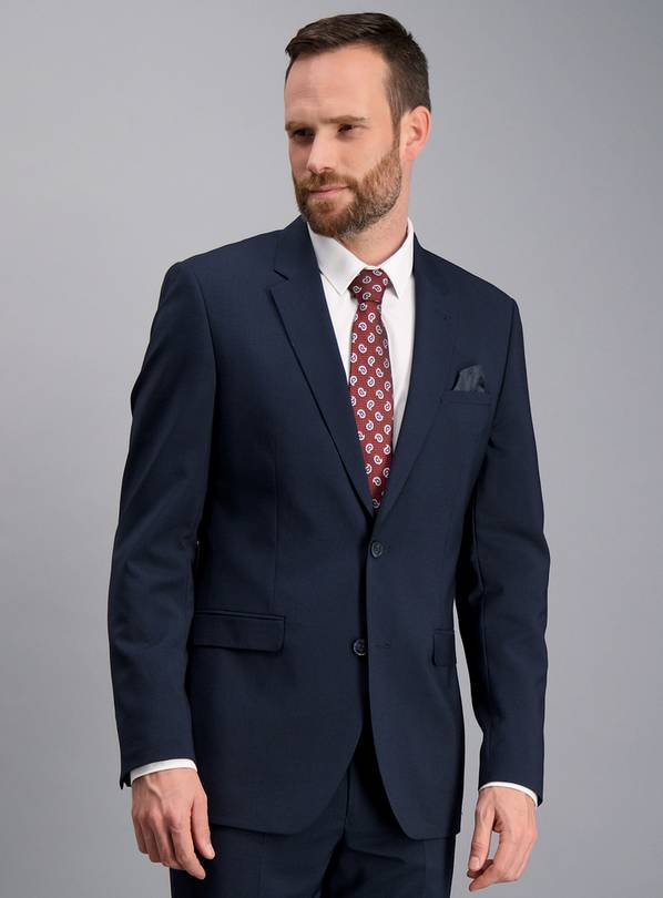 Navy Blue Micro Dogtooth Check Slim Fit Jacket - 52R