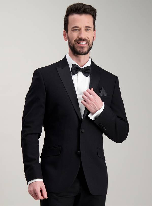 Black Slim Fit Tuxedo Dinner Jacket - 50R