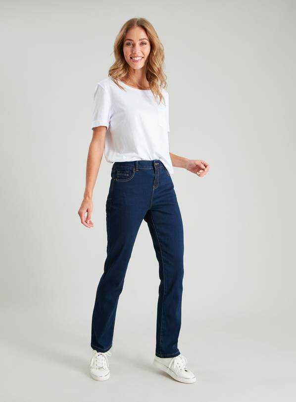 Dark Denim Straight Leg Jeans - 14R