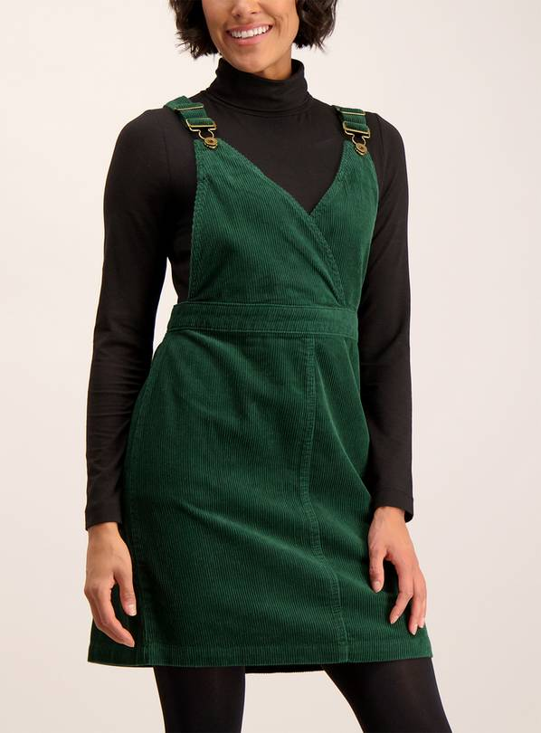 Online Exclusive Dark Green Corduroy Pinafore Dress - 26