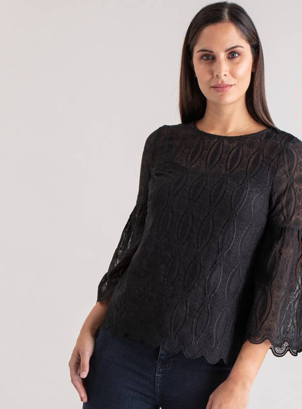 Online Exclusive Black Fluted Sleeve Lace Blouse - 6