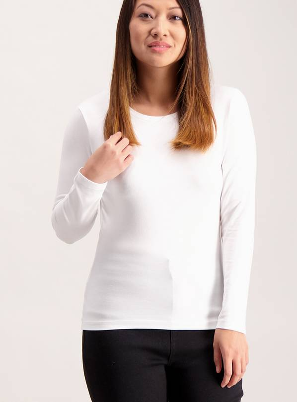 PETITE Online Exclusive White Long Sleeve T-Shirt - 20