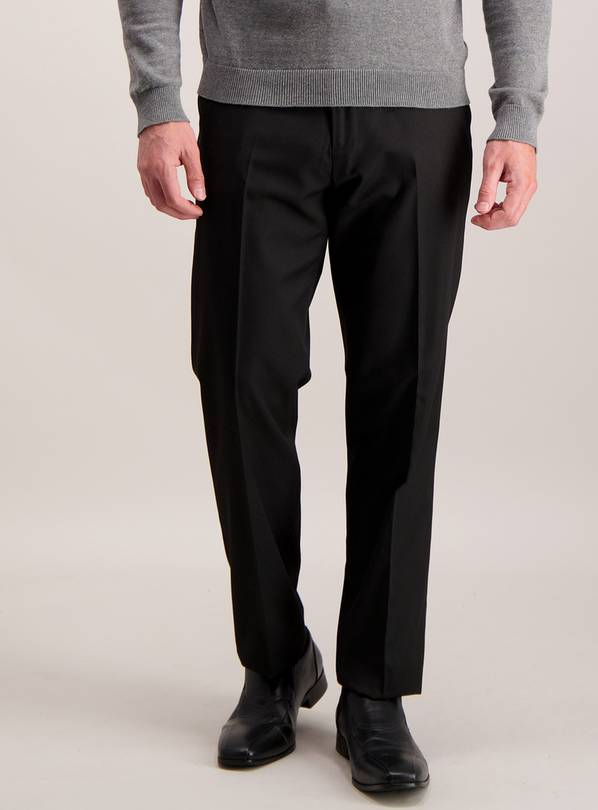 Black Active Waistband Tailored Fit Trousers With Stretch -