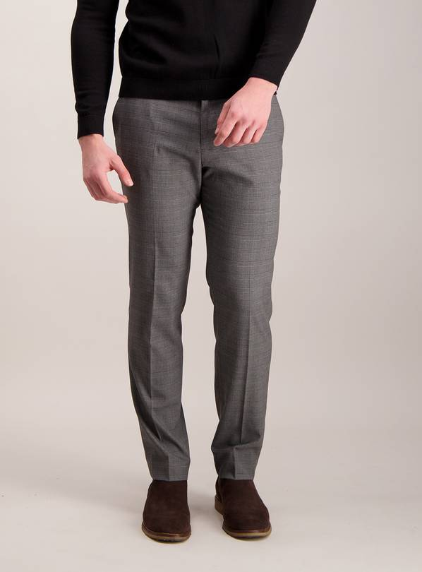 Online Exclusive Grey Check Slim Fit Trousers With Stretch -