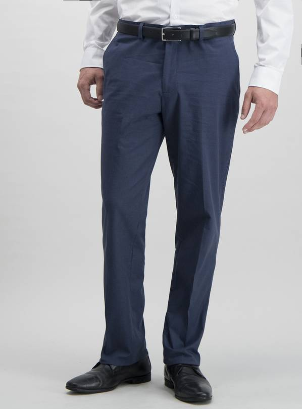 Navy Tailored Fit Stretch Cotton Trousers - W32 L29